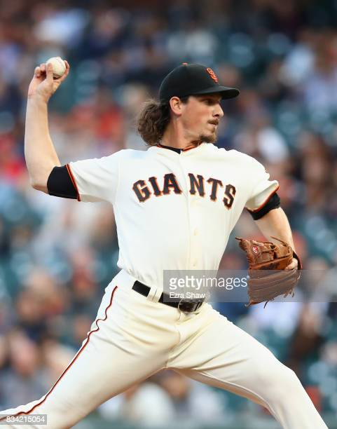 Jeff Samardzija of the San Francisco Giants pitches against the Philadelphia Phillies in the first inning at ATT Park on August 17 2017 in San...