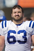 Jeff Saturday of the Indianapolis Colts stands on the sidelines during a game against the Tennessee Titans at the LP Field on October 30 2011 in...