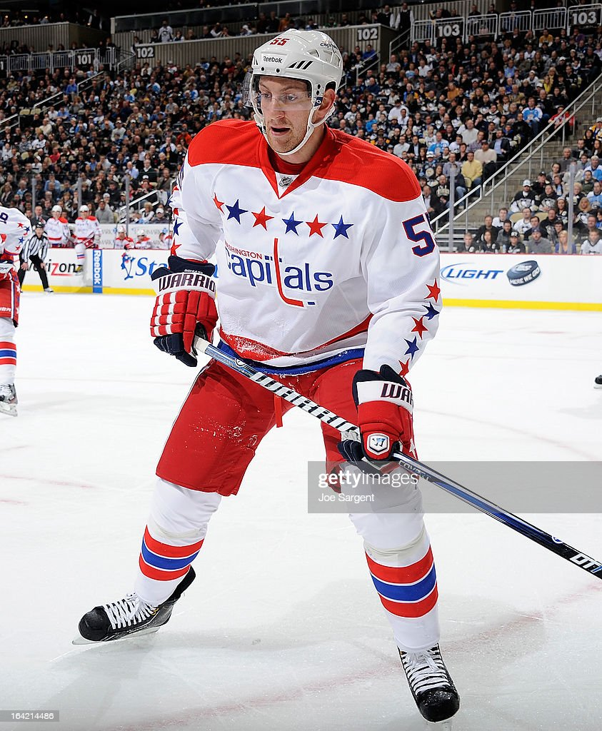 Jeff Schultz #55 of the Washington Capitals skates against the Pittsburgh Penguins on March 19, 2013 at Consol Energy Center in Pittsburgh, Pennsylvania.