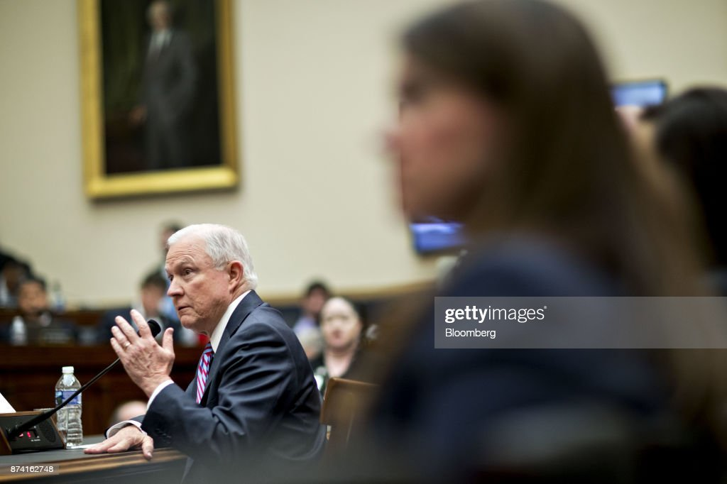 Jeff Sessions, U.S. attorney general, left, speaks during a House Judiciary Committee hearing in Washington, D.C., U.S., on Tuesday, Nov. 14, 2017. Sessions denied he lied or misled Congress about contacts with Russia by people involved in Donald Trump's presidential campaign. Photographer: Andrew Harrer/Bloomberg via Getty Images