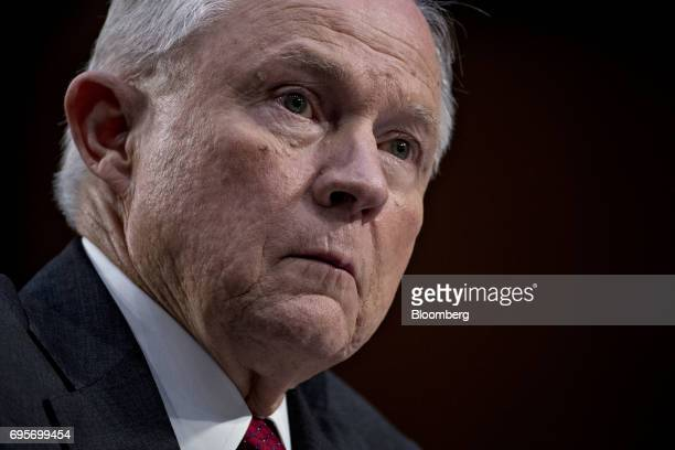 Jeff Sessions US attorney general listens during a Senate Intelligence Committee hearing in Washington DC US on Tuesday June 13 2017 While lawmakers...