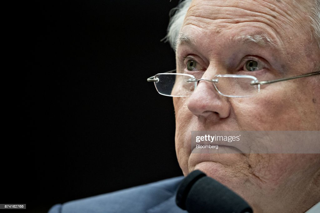 Jeff Sessions, U.S. attorney general, listens to a question during a House Judiciary Committee hearing in Washington, D.C., U.S., on Tuesday, Nov. 14, 2017. Sessions denied he lied or misled Congress about contacts with Russia by people involved in Donald Trump's presidential campaign. Photographer: Andrew Harrer/Bloomberg via Getty Images