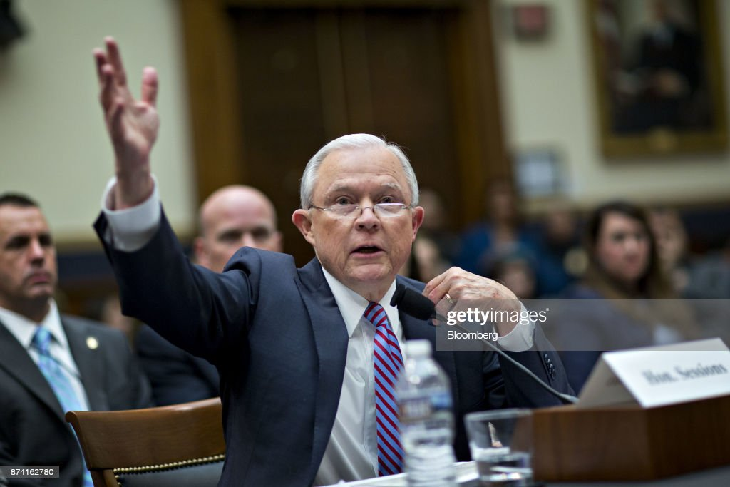 Jeff Sessions, U.S. attorney general, speaks during a House Judiciary Committee hearing in Washington, D.C., U.S., on Tuesday, Nov. 14, 2017. Sessions denied he lied or misled Congress about contacts with Russia by people involved in Donald Trump's presidential campaign. Photographer: Andrew Harrer/Bloomberg via Getty Images