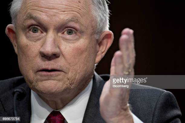 Jeff Sessions US attorney general speaks during a Senate Intelligence Committee hearing in Washington DC US on Tuesday June 13 2017 While lawmakers...