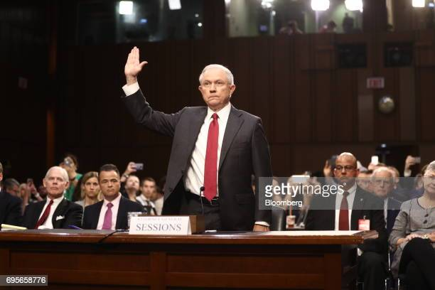 Jeff Sessions US attorney general swears in to a Senate Intelligence Committee hearing with US Attorney General Jeff Sessions in Washington DC US on...