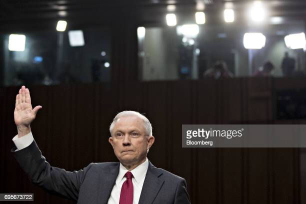Jeff Sessions US attorney general swears in to a Senate Intelligence Committee hearing in Washington DC US on Tuesday June 13 2017 While lawmakers...