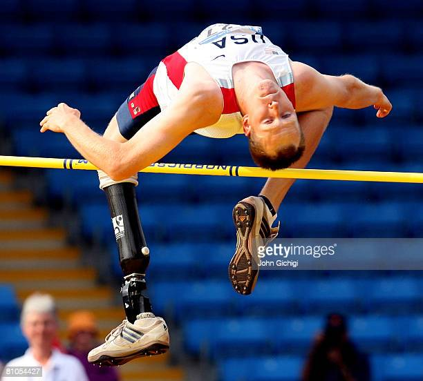 Jeff Skiba of USA clears the bar to win the F44/45 Mens High Jump during the Paralympic World Cup on May 11 2008 at Manchester Regional Arena in...