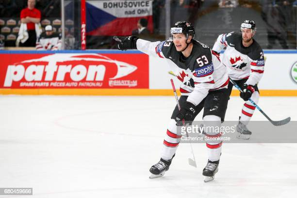 Jeff Skinner of Canada is calling for a play during the 2017 IIHF Ice Hockey World Championship game between Belarus and Canada at AccorHotels Arena...