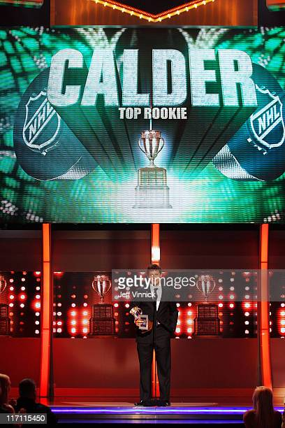 Jeff Skinner of the Carolina Hurricanes accepts the Calder Memorial Trophy during the 2011 NHL Awards at The Pearl concert theater at the Palms...