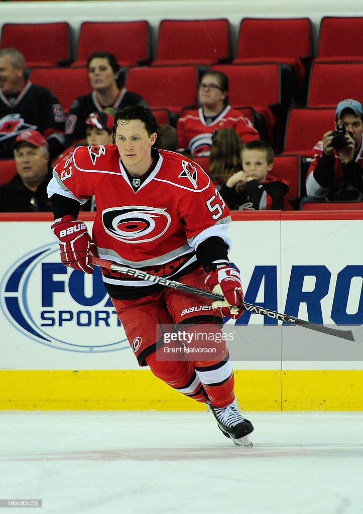 Jeff Skinner #53 of the Carolina Hurricanes against the Boston Bruins during play at PNC Arena on January 28, 2013 in Raleigh, North Carolina. The Bruins defeated the Hurricanes 5-3.