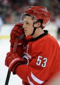 Jeff Skinner of the Carolina Hurricanes against the Montreal Canadiens during their game at PNC Arena on February 8 2014 in Raleigh North Carolina...