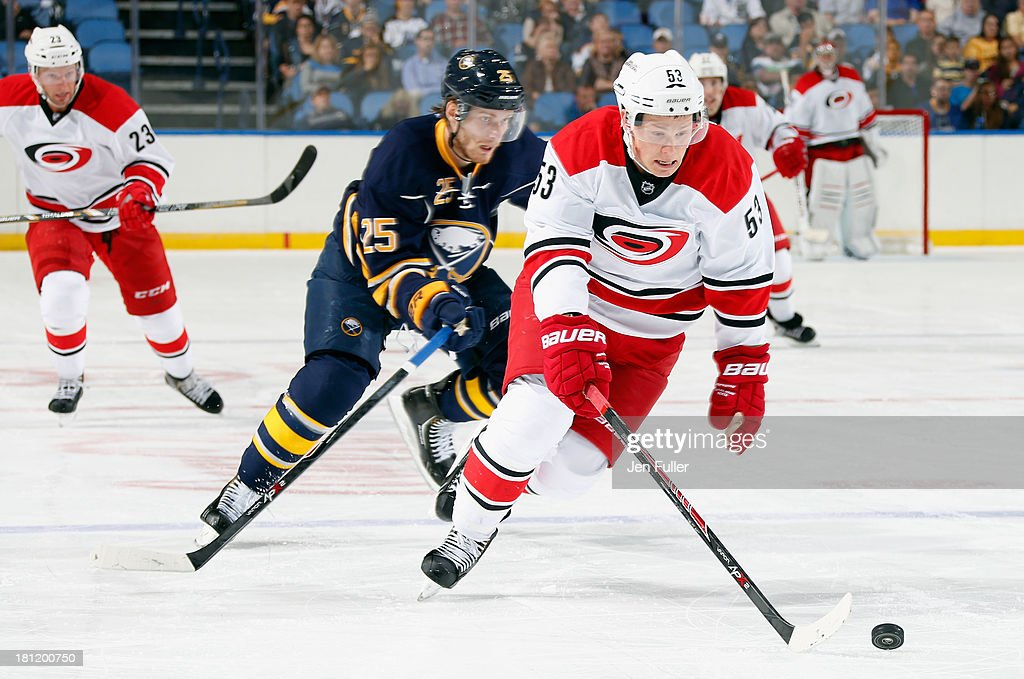 <a gi-track='captionPersonalityLinkClicked' href=/galleries/search?phrase=Jeff+Skinner&family=editorial&specificpeople=3147596 ng-click='$event.stopPropagation()'>Jeff Skinner</a> #53 of the Carolina Hurricanes and <a gi-track='captionPersonalityLinkClicked' href=/galleries/search?phrase=Mikhail+Grigorenko&family=editorial&specificpeople=8771251 ng-click='$event.stopPropagation()'>Mikhail Grigorenko</a> #25 of the Buffalo Sabres chase the puck at First Niagara Center on September 19, 2013 in Buffalo, United States.