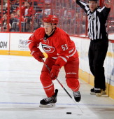 Jeff Skinner of the Carolina Hurricanes carries the puck across the blueline during their NHL game against the Washington Capitals at PNC Arena on...