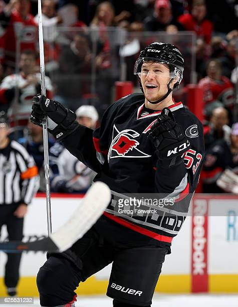 Jeff Skinner of the Carolina Hurricanes celebrates a goal during an NHL game against the Winnipeg Jets on November 20 2016 at PNC Arena in Raleigh...