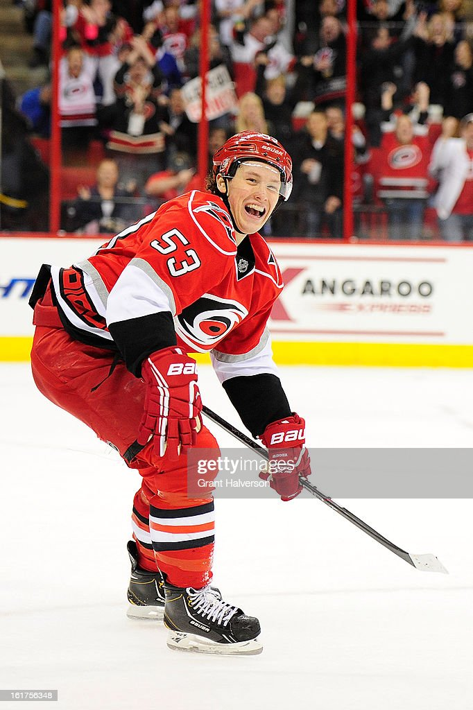 Jeff Skinner #53 of the Carolina Hurricanes celebrates after assisting on a goal by teammate Jordan Staal #11 against the Toronto Maple Leafs during the second period at PNC Arena on February 14, 2013 in Raleigh, North Carolina.