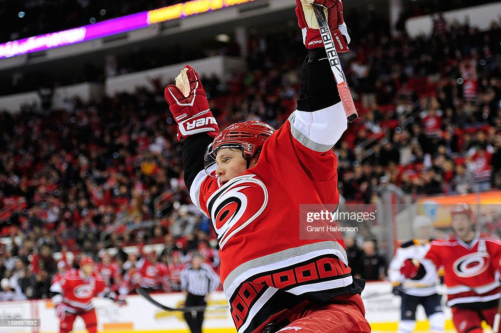 Jeff Skinner #53 of the Carolina Hurricanes celebrates after scoring a second-period goal against the Buffalo Sabres at PNC Arena on January 24, 2013 in Raleigh, North Carolina.