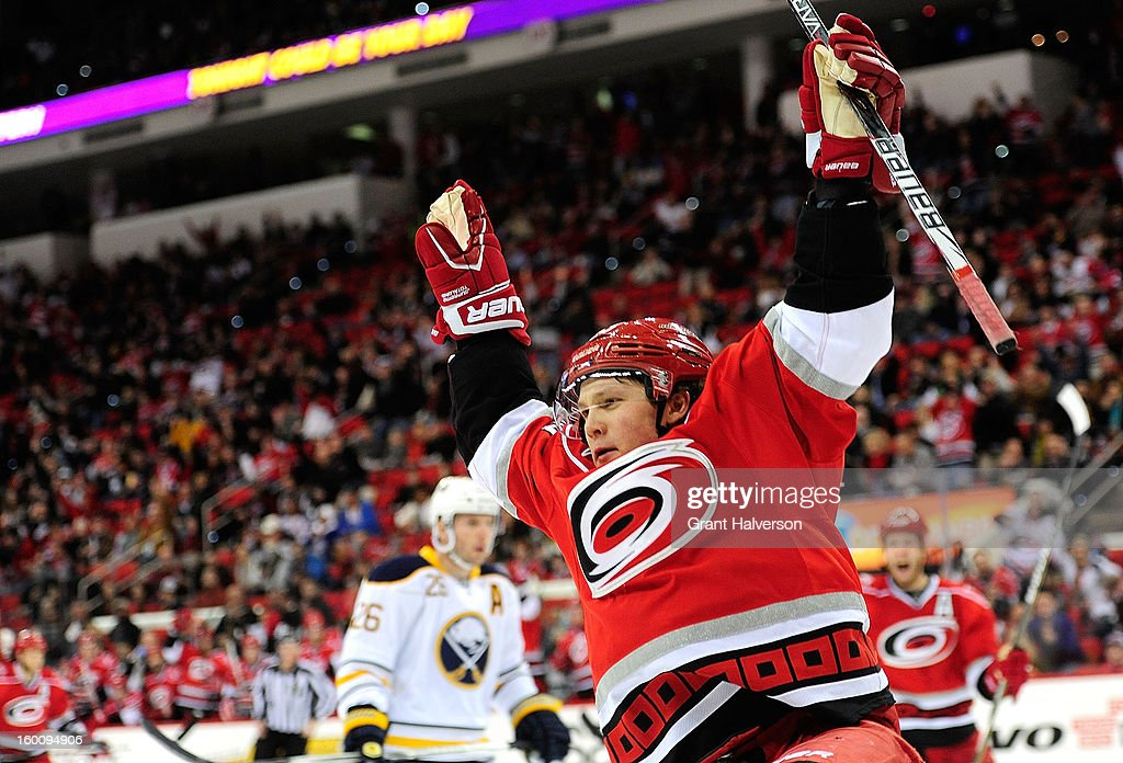 Jeff Skinner #53 of the Carolina Hurricanes celebrates after scoring a second period goal against the Buffalo Sabres at PNC Arena on January 24, 2013 in Raleigh, North Carolina.
