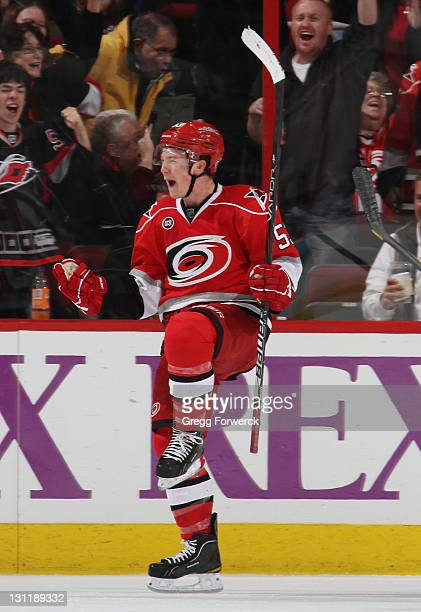 Jeff Skinner of the Carolina Hurricanes celebrates his 2nd goal of the period against the Tampa Bay Lightning during a NHL game on November 1 2011 at...