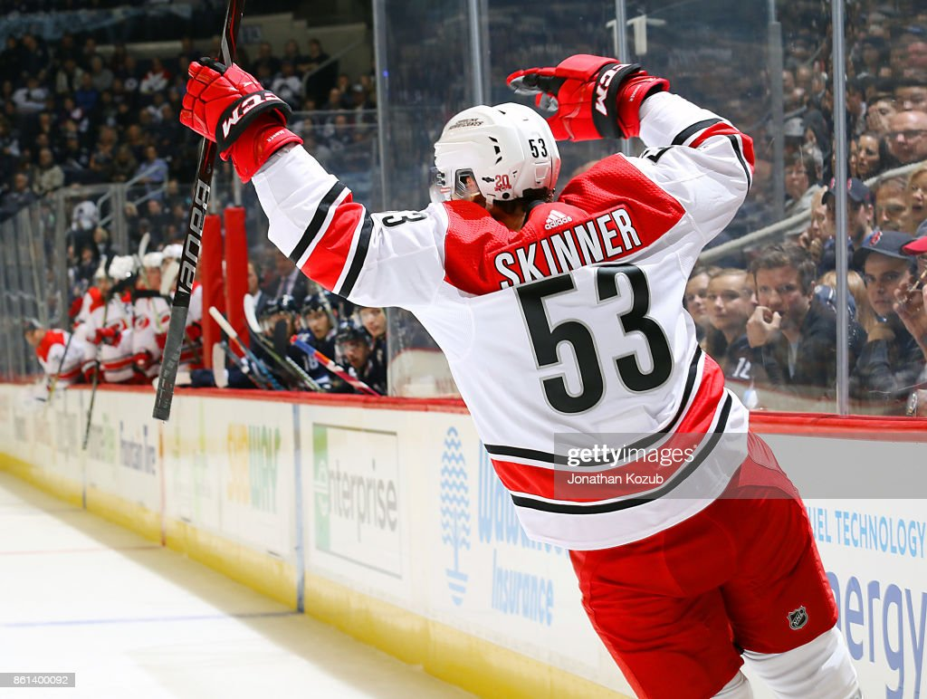 Jeff Skinner #53 of the Carolina Hurricanes celebrates his first period goal against the Winnipeg Jets at the Bell MTS Place on October 14, 2017 in Winnipeg, Manitoba, Canada. This game marks the 500th of Skinner's NHL career.