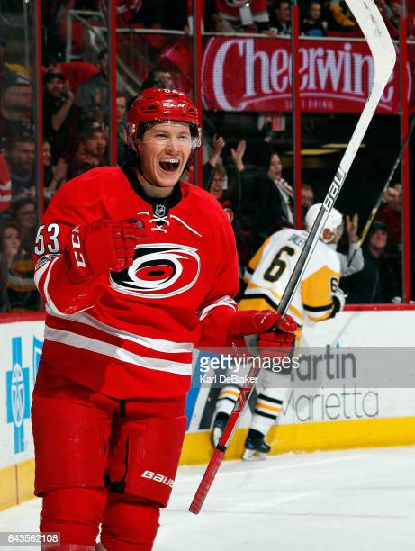 Jeff Skinner of the Carolina Hurricanes celebrates his firstperiod goal against the Pittsburgh Penguins during an NHL game on February 21 2017 at PNC...