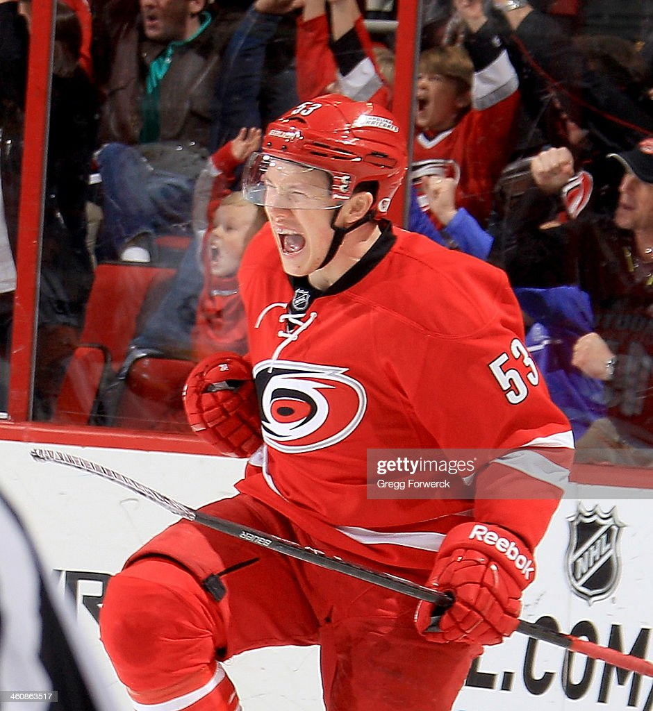 Jeff Skinner of the Carolina Hurricanes celebrates his gamewinning goal during their NHL game against the Nashville Predators at PNC Arena on January...