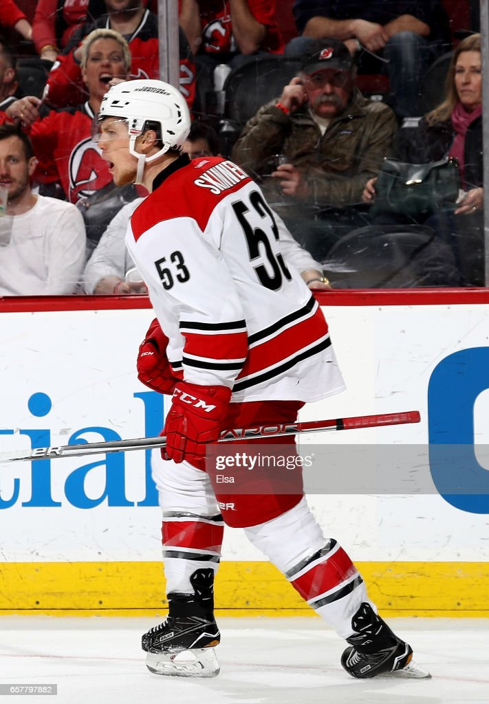 Jeff Skinner #53 of the Carolina Hurricanes celebrates his goal in the third period against the New Jersey Devils on March 25, 2017 at Prudential Center in Newark, New Jersey.