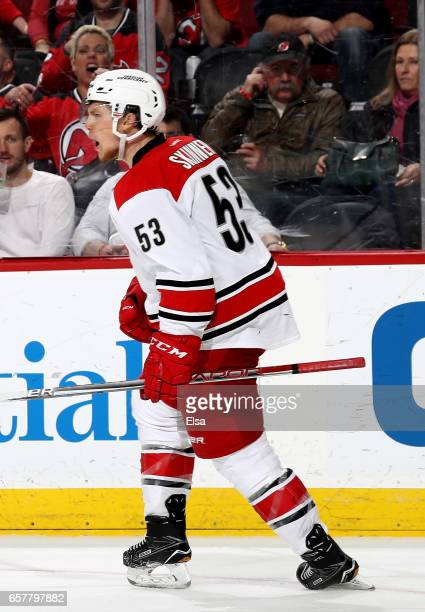 Jeff Skinner of the Carolina Hurricanes celebrates his goal in the third period against the New Jersey Devils on March 25 2017 at Prudential Center...