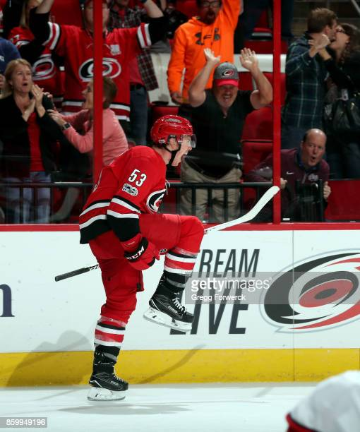 Jeff Skinner of the Carolina Hurricanes celebrates his goal late in the third period of an NHL game against the Columbus Blue Jackets to even the...