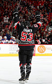 Jeff Skinner of the Carolina Hurricanes celebrates his third period goal during an NHL game against the Edmonton Oilers at PNC Arena on March 8 2015...