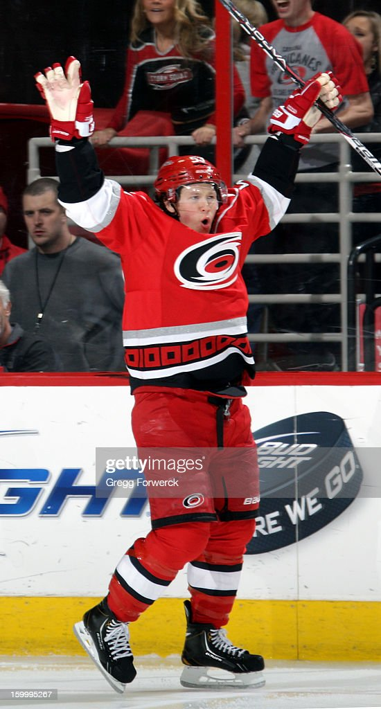 Jeff Skinner #53 of the Carolina Hurricanes celebrates scoring his first of two goals in the second period during an NHL game against the Buffalo Sabres at PNC Arena on January 24, 2013.