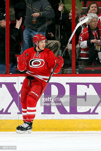 Jeff Skinner of the Carolina Hurricanes celebrates scoring the first goal of the game against the Anaheim Ducks during their NHL game at PNC Arena on...