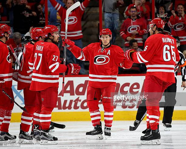 Jeff Skinner of the Carolina Hurricanes celebrates with teammates after socring during an NHL game agaisnt the Philadephia Flyers on October 30 2016...