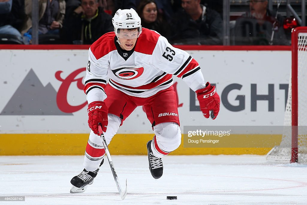 Jeff Skinner of the Carolina Hurricanes controls the puck against the Colorado Avalanche at Pepsi Center on October 21 2015 in Denver Colorado The...