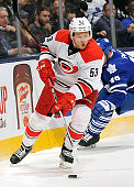 Jeff Skinner of the Carolina Hurricanes controls the puck against the Toronto Maple Leafs during game action on January 21 2016 at Air Canada Centre...