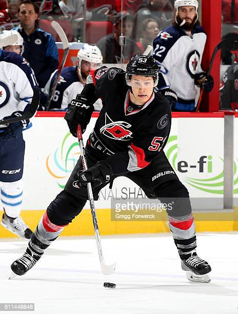 Jeff Skinner of the Carolina Hurricanes controls the puck on the ice during an NHL game against the Winnipeg Jets at PNC Arena on February 16 2016 in...