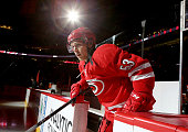 Jeff Skinner of the Carolina Hurricanes enters the ice prior to their NHL game against the Detroit Red Wings at PNC Arena on April 11 2015 in Raleigh...