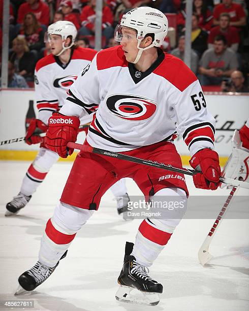 Jeff Skinner of the Carolina Hurricanes follows the play against the Detroit Red Wings during an NHL game on April 11 2014 at Joe Louis Arena in...