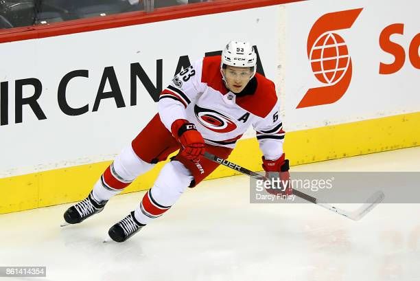 Jeff Skinner of the Carolina Hurricanes follows the play up the ice during second period action against the Winnipeg Jets at the Bell MTS Place on...