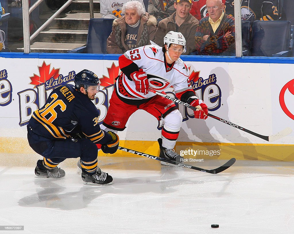 <a gi-track='captionPersonalityLinkClicked' href=/galleries/search?phrase=Jeff+Skinner&family=editorial&specificpeople=3147596 ng-click='$event.stopPropagation()'>Jeff Skinner</a> #53 of the Carolina Hurricanes gets off a pass against <a gi-track='captionPersonalityLinkClicked' href=/galleries/search?phrase=Patrick+Kaleta&family=editorial&specificpeople=714513 ng-click='$event.stopPropagation()'>Patrick Kaleta</a> #36 of the Buffalo Sabres at First Niagara Center on January 25, 2013 in Buffalo, New York. Carolina won 3-1.