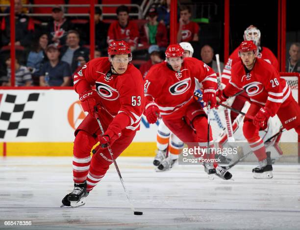 Jeff Skinner of the Carolina Hurricanes gets out on a break and skates with the puck during an NHL game against the New York Islanders on April 6...
