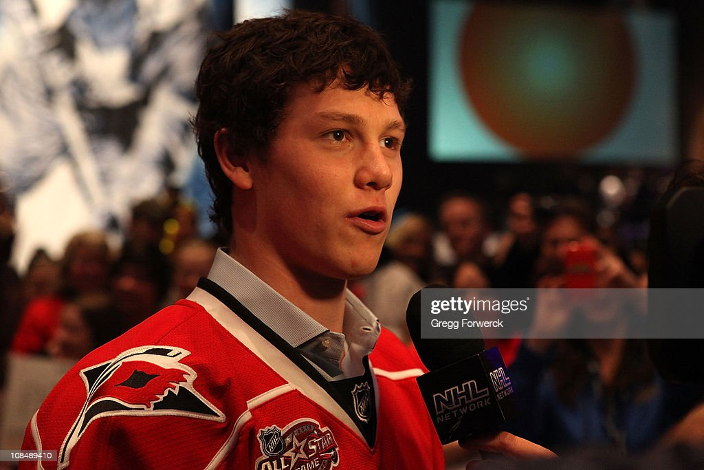 <a gi-track='captionPersonalityLinkClicked' href=/galleries/search?phrase=Jeff+Skinner&family=editorial&specificpeople=3147596 ng-click='$event.stopPropagation()'>Jeff Skinner</a> of the Carolina Hurricanes is interviewed by the NHL Network during the NHL Fan Fair part of 2011 NHL All-Star Weekend at the Raleigh Convention Center on January 28, 2011 in Raleigh, North Carolina.
