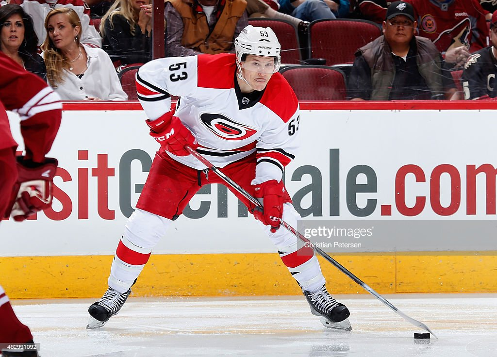 Jeff Skinner of the Carolina Hurricanes looks to shoot against the Arizona Coyotes during the NHL game at Gila River Arena on February 5 2015 in...
