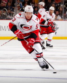 Jeff Skinner of the Carolina Hurricanes moves the puck against the Pittsburgh Penguins on April 27 2013 at Consol Energy Center in Pittsburgh...