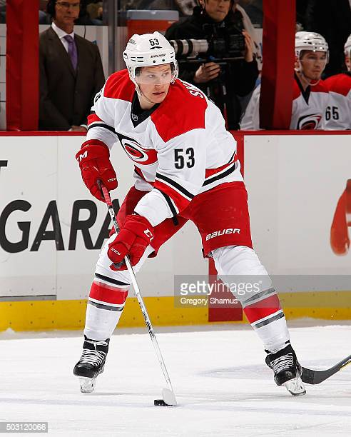 Jeff Skinner of the Carolina Hurricanes moves the puck against the Pittsburgh Penguins at Consol Energy Center on December 19 2015 in Pittsburgh...