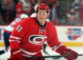 Jeff Skinner of the Carolina Hurricanes participates in warmups prior to an NHL game against the Washington Capitals the team's last home game of the...