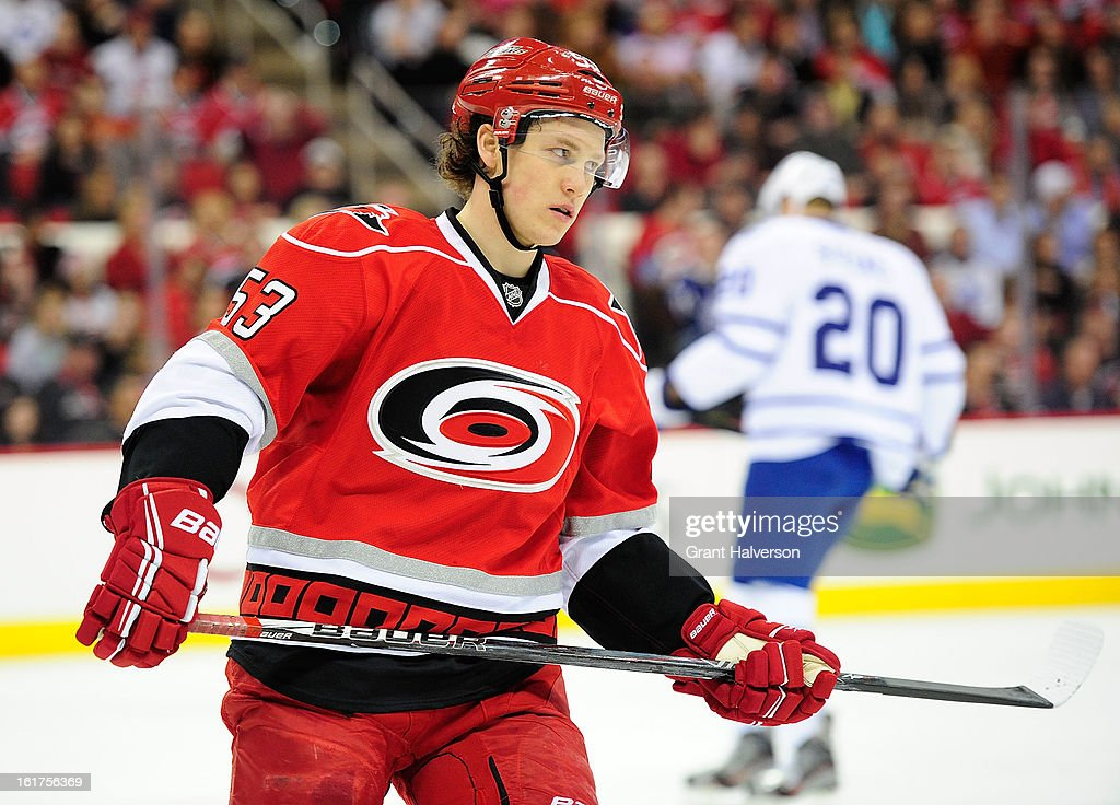Jeff Skinner #53 of the Carolina Hurricanes plays against the Toronto Maple Leafs at PNC Arena on February 14, 2013 in Raleigh, North Carolina.