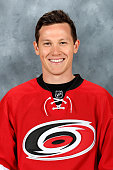 Jeff Skinner of the Carolina Hurricanes poses for his official headshot for the 20152016 season on September 17 2015 at Carolina Family Practice in...