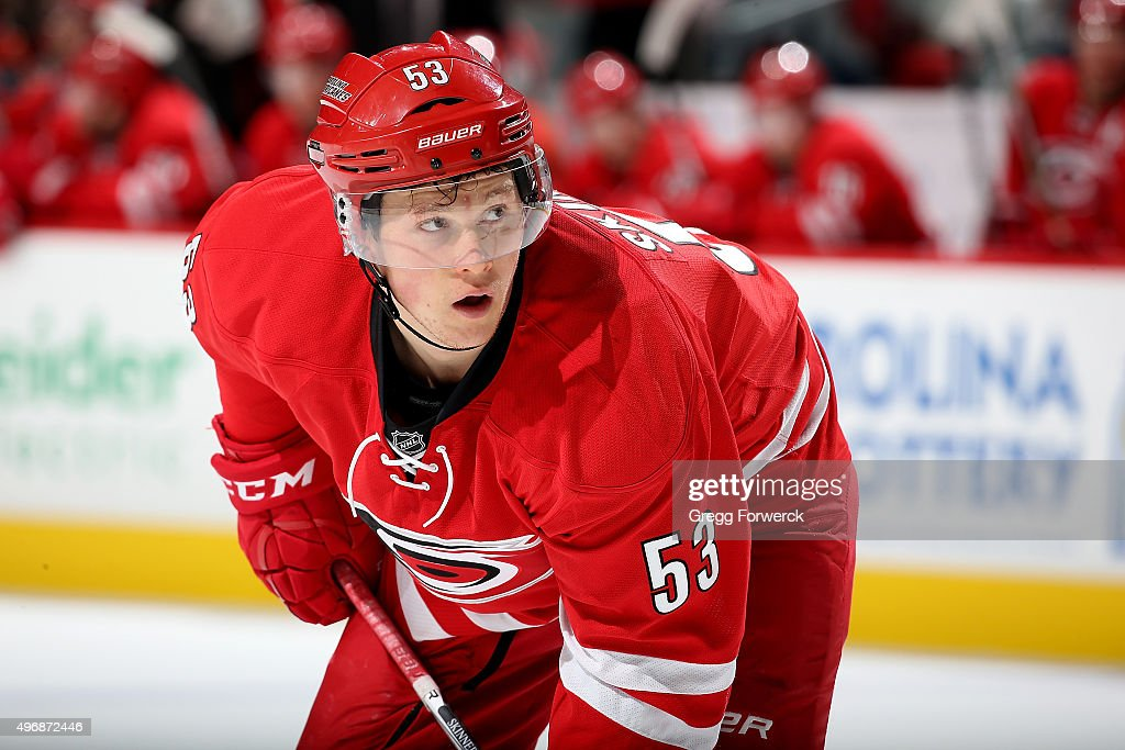 Jeff Skinner of the Carolina Hurricanes prepares for a face off against the Dallas Stars during a NHL game at PNC Arena on November 6 2015 in Raleigh...