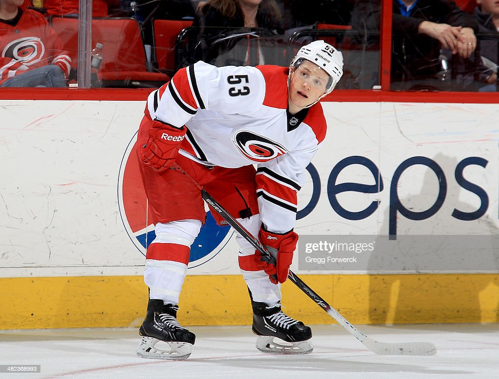 Jeff Skinner of the Carolina Hurricanes prepares for a faceoff during their NHL game against the Columbus Blue Jackets at PNC Arena on March 29 2014...