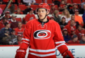 Jeff Skinner of the Carolina Hurricanes prepares for a faceoff during their NHL game against the Washington Capitals at PNC Arena on April 10 2014 in...